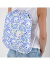 Foldable Eco Backpack Squares Blue