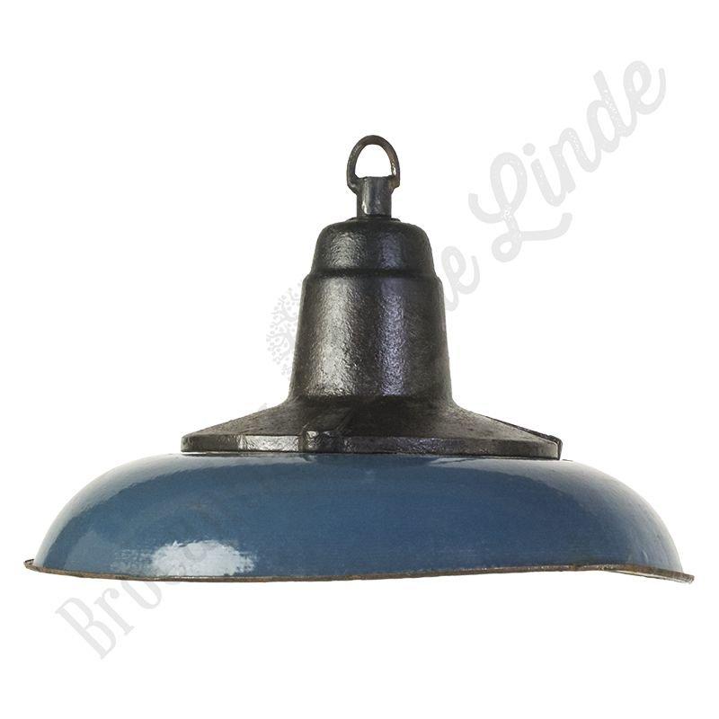 "Industriële Bauhaus lamp ""Blue Cast Flower"" - emaille en gietijzer"