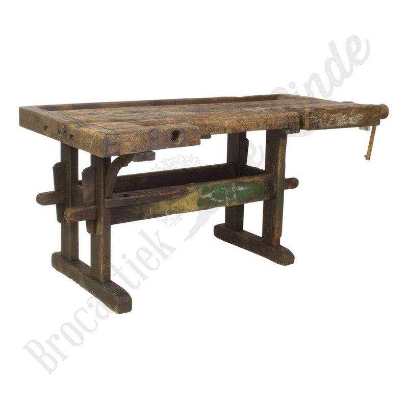 Antieke industriële houten werkbank vintage