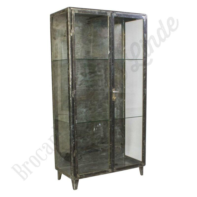 """Vintage apothekerskast geborsteld staal """"Brushed Steel & Glass"""""""