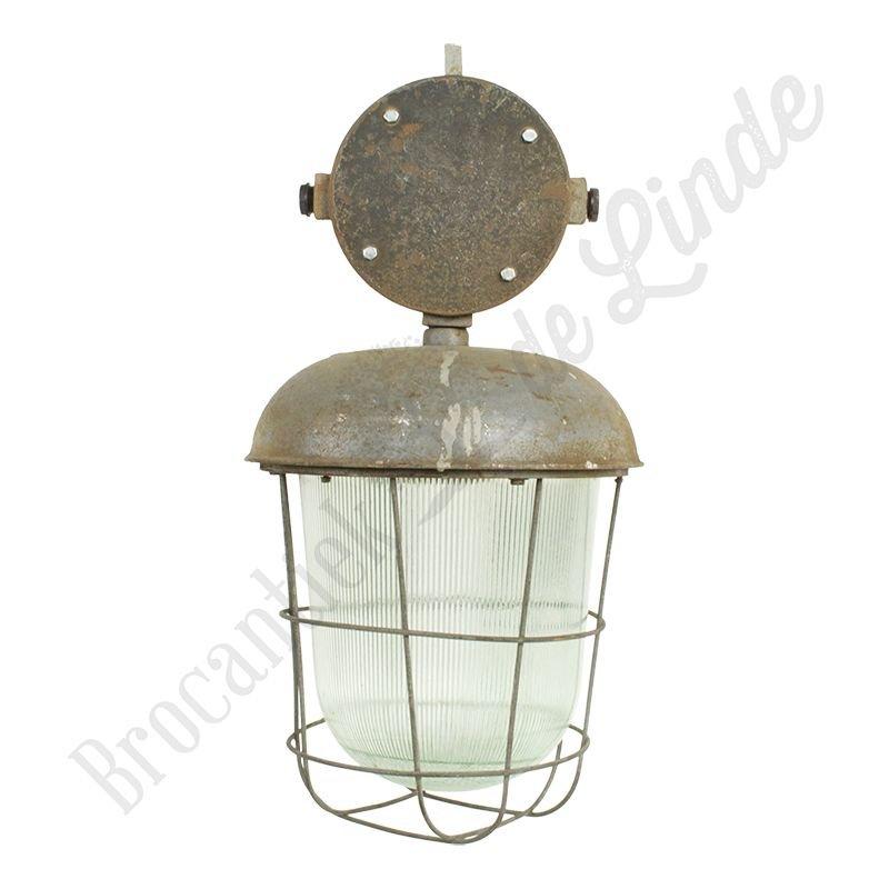 """Industriële lamp """"Acorn"""" met glas en raster"""