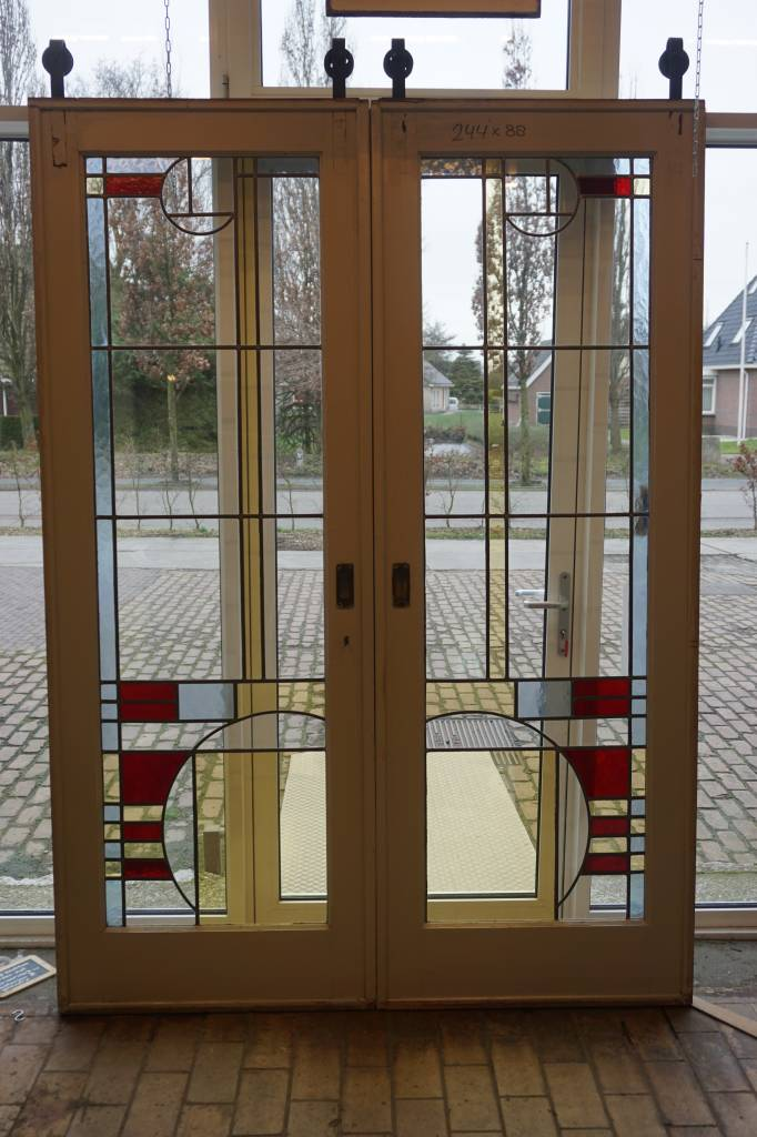 Ensuite Deuren Glas In Lood.Art Deco En Suite Deuren Met Glas In Lood
