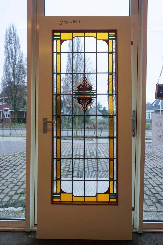 √ glas in lood deur gebrandschilderd - brocantiek de linde