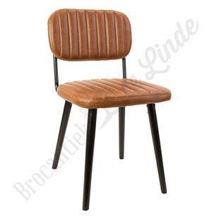 Eetkamer stoel 'leather stripes brown'