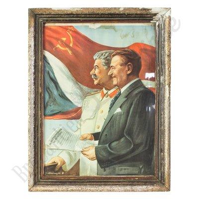 Vintage portret  Stalin en Gottwald