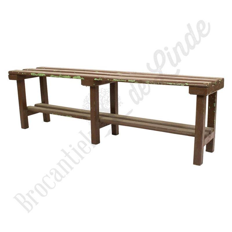 Vintage bruin houten bankje