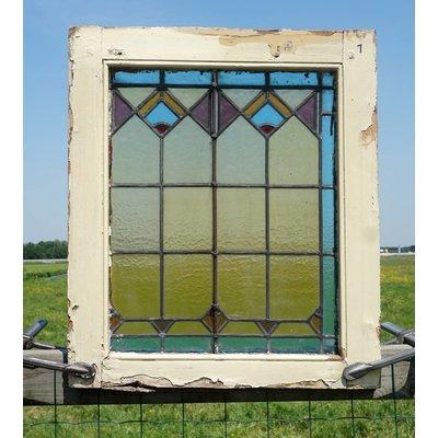 62,5 x 53,5 cm - Glas in lood raam No. 1
