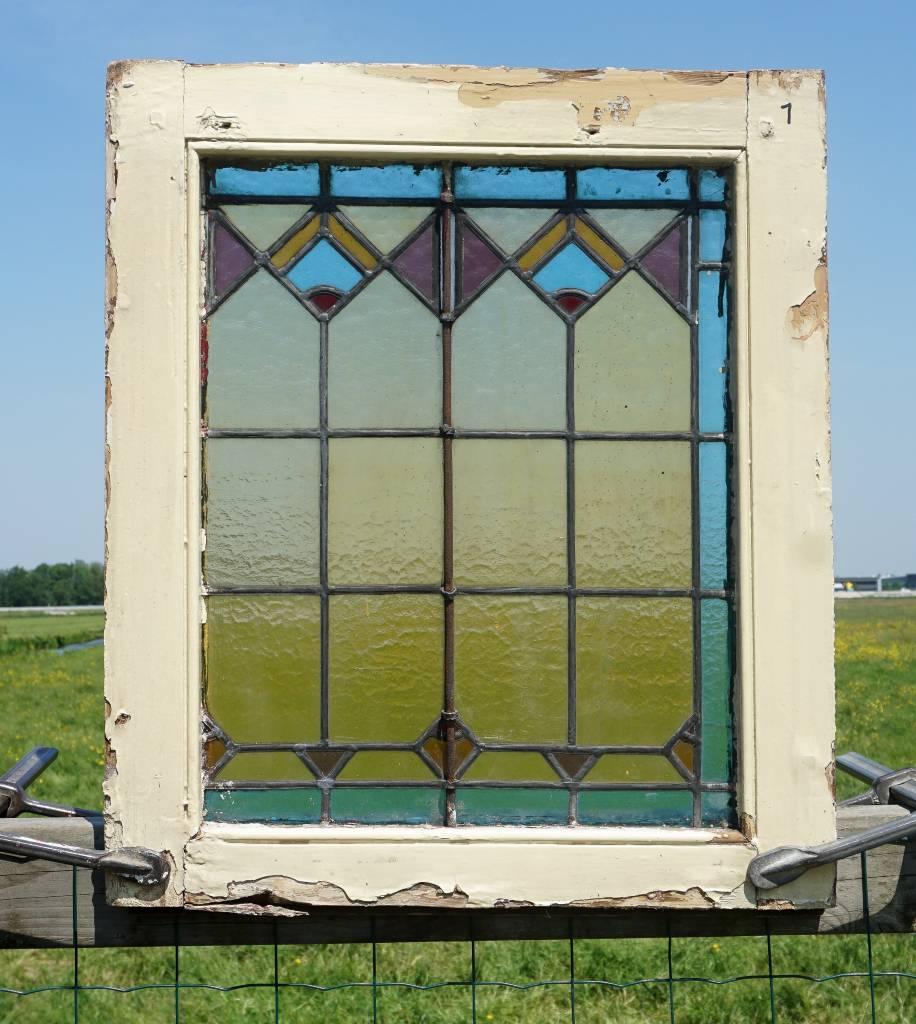 Glas En Lood Ramen.Antiek Glas In Lood Raam Art Nouveau
