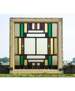 57 x 53,5 cm - Glas in lood raam No. 19