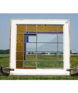 65 x 68 cm - Glas in lood raam No. 38