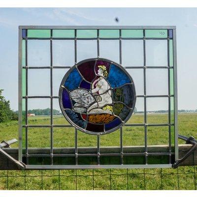 69,5 x 62,5 cm - Glas in lood raam No. 40