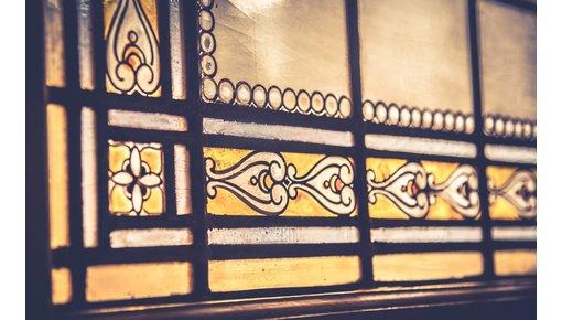 Antieke glas in lood ramen en deuren