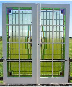 211 x 87,5 cm - Glas in lood deuren No. 1