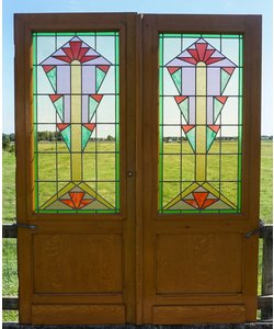 206,5 x 163  cm - Glas in lood deuren No. 3