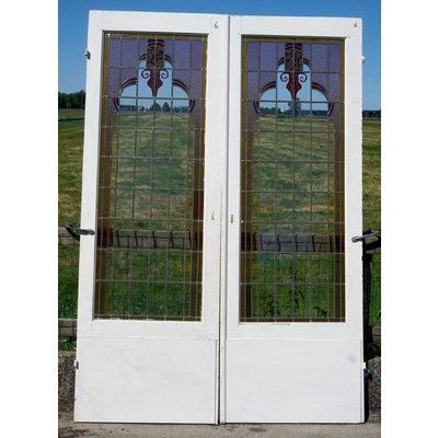 218 x 75 cm - Glas in lood deuren No. 6