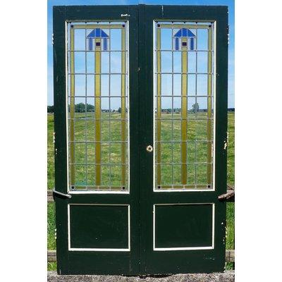 211 x 67,5 cm - Glas in lood deuren No. 8