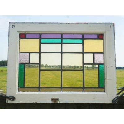 66,5 x 50 cm - Glas in lood raam No. 55