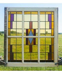 95 x 86,5 cm - Glas in lood raam No. 61