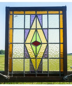 60 x 50 cm - Glas in lood raam No. 65