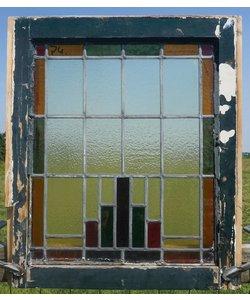 65,5 x 56,5 cm - Glas in lood raam No. 74