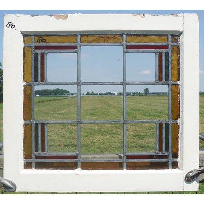 57 x 52 cm - Glas in lood raam No. 80