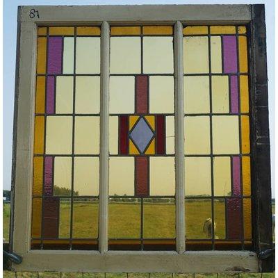 86 x 91 cm - Glas in lood raam No. 87