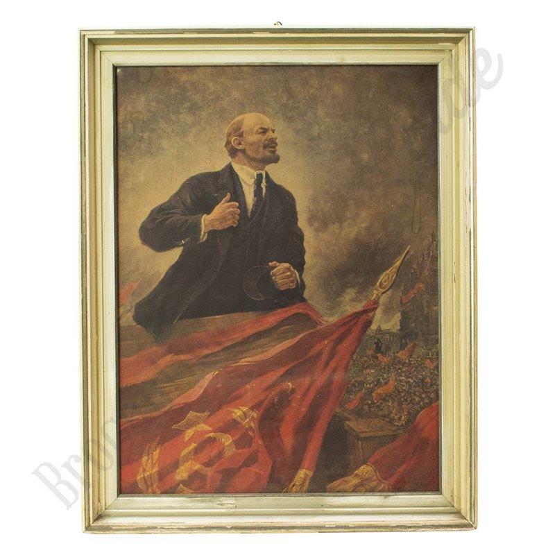 Schilderij in lijst 'Lenin'