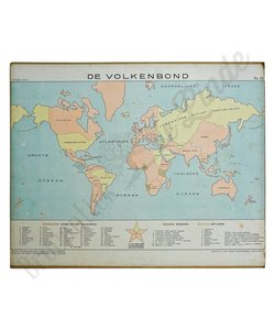 Oude landkaart 'De volkenbond'