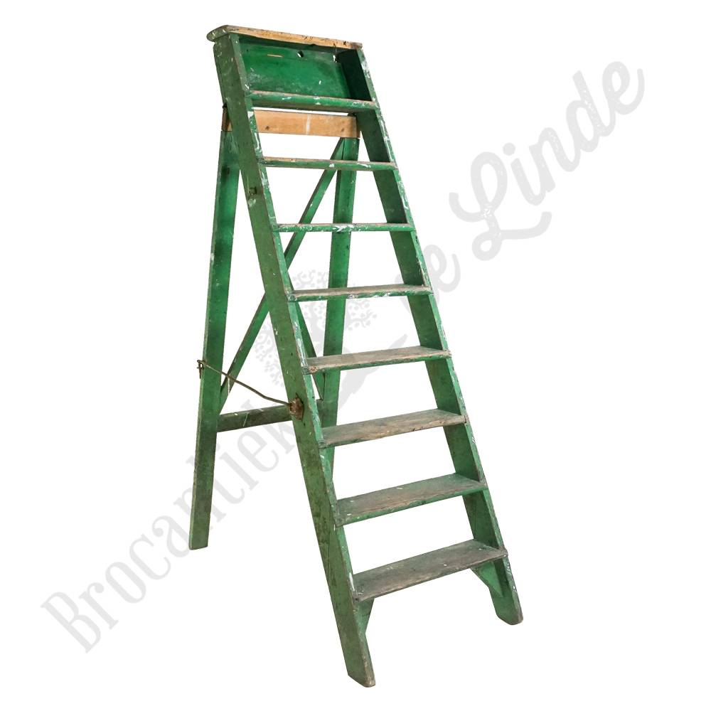 Robuuste Houten Ladder.Oude Houten Trap Groen Brocantiek De Linde