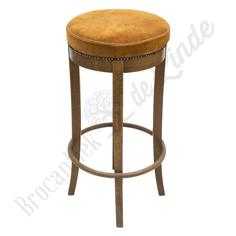 Vintage barkruk van hout en suède
