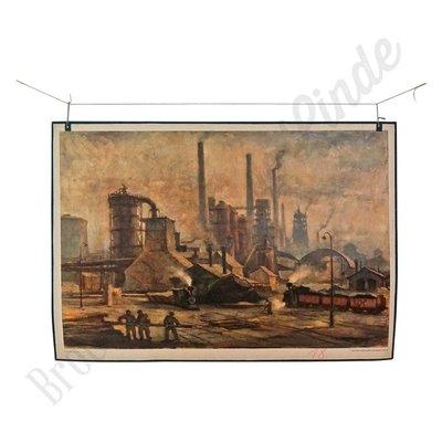 Oude vintage schoolplaat 'Fabriek'