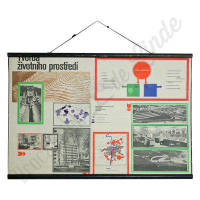 Vintage schoolplaat wetenschap 'Milieu'