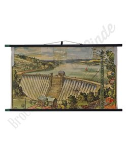 Vintage schoolplaat landschap 'Dam'