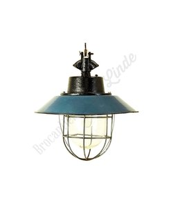 Stoere industriele hanglamp 'Maly Petrol'