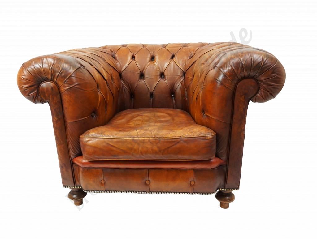 Verbazingwekkend Vintage, lederen Chesterfield fauteuil cognackleurig | Brocantiek ZL-57