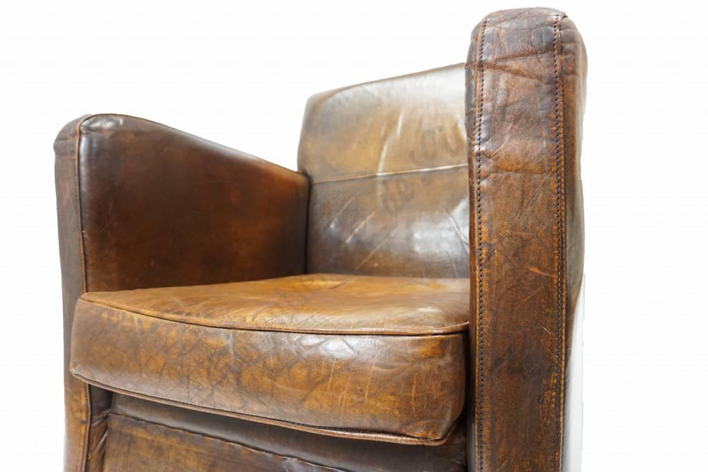Hedendaags Schapenlederen fauteuil Art Deco | Brocantiek de Linde EU-87