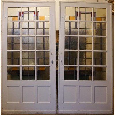 239,5 x 233 cm - Glas in lood deuren No. 18
