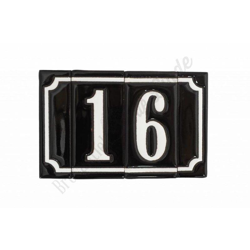 Handgeglasuurde huisnummers '2 cijfer'