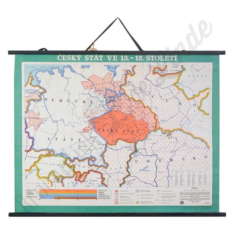 Oude landkaart 'Tsjechische staat in 13-15e eeuw'