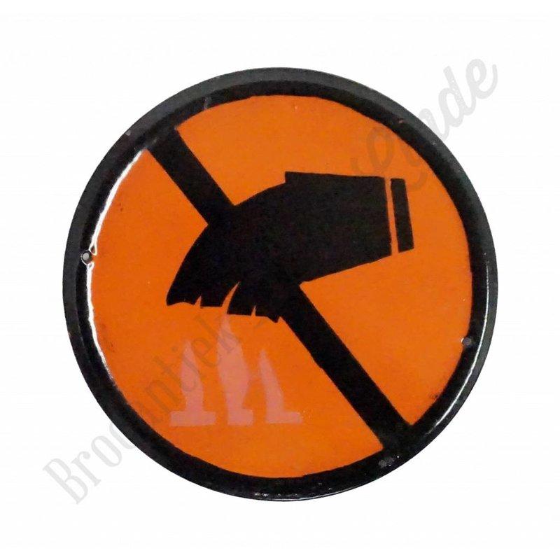 Emaille pictogram 'verbod vloeistof op vuur'