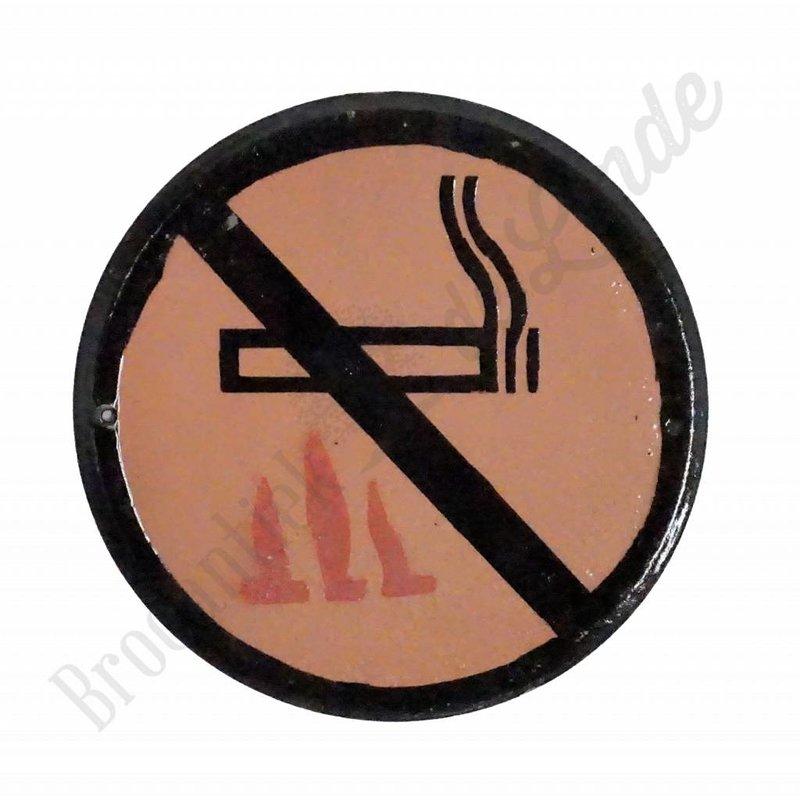 Emaille bord met pictogram 'niet roken bij vuur'