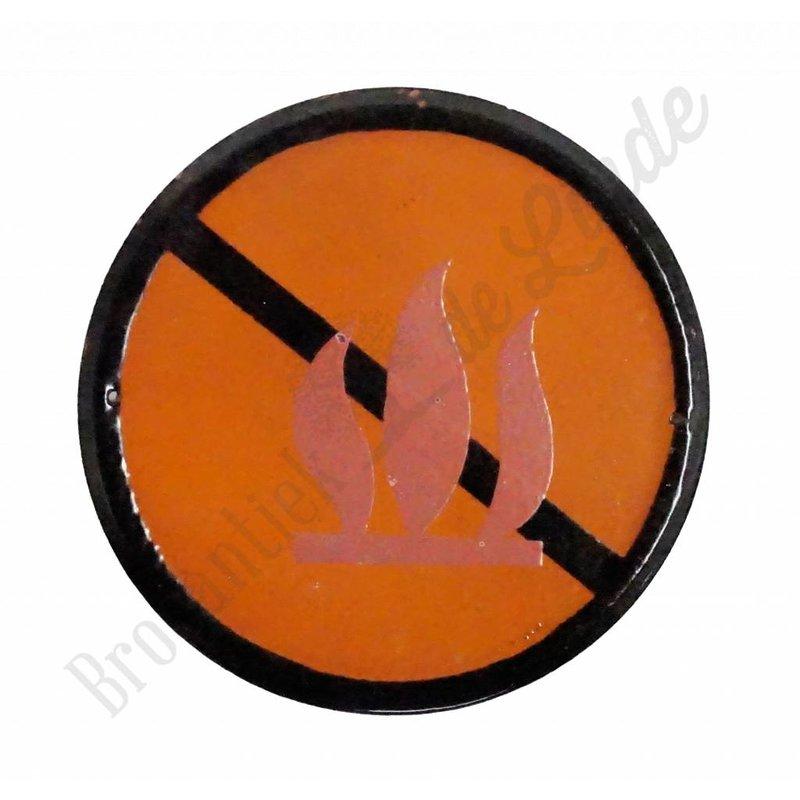 Emaille bord met pictogram 'verboden vuur te maken'