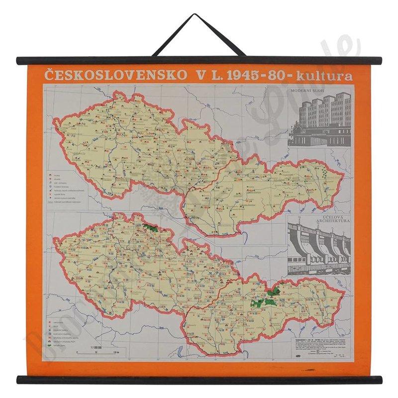 Vintage landkaart 'Tsjecho-Slowakije'