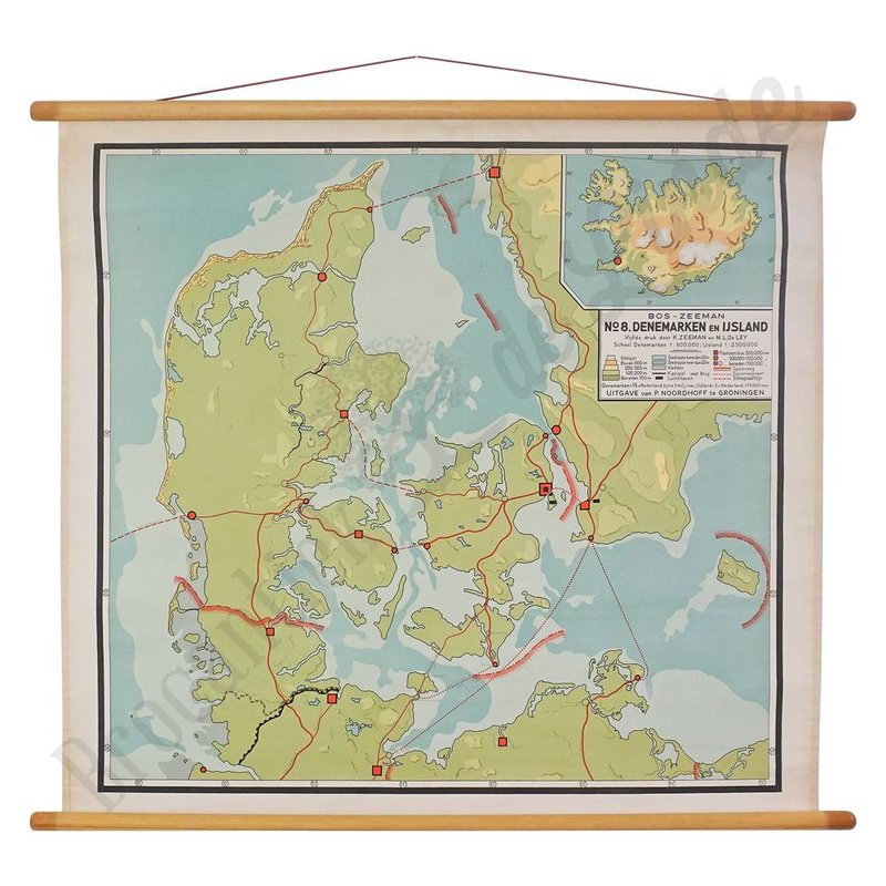 Vintage landkaart 'Denemarken-IJsland' No. 1