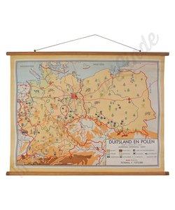 Oude landkaart 'Duitsland-Polen'