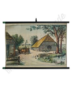 Vintage schoolplaat 'Hollandse Boerderij'
