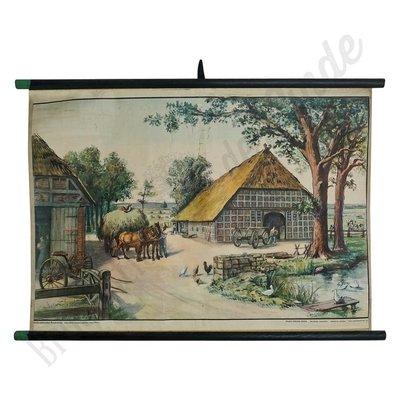 Vintage boerderij schoolplaat