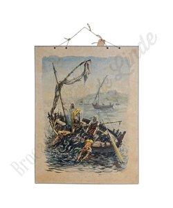 Historische schoolplaat 'De visvangst'