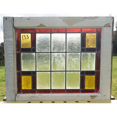 63,5 x 52 cm - Glas in lood raam No. 133
