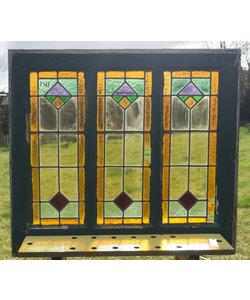 74 x 81,5 cm - Glas in lood raam No. 141
